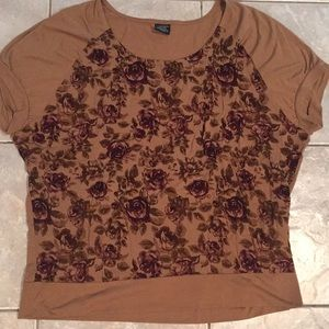 Tan and burgundy floral oversized T